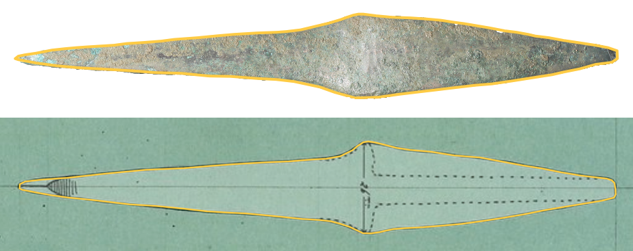 Drawing an axe side-view on top of a line drawing or a photograph.