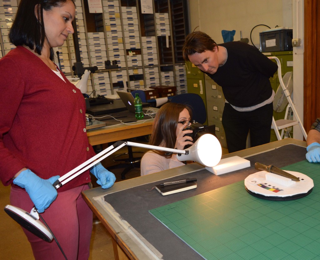 Adi, Chiara, & Andy preparing a decorated socketed spearhead from the hoard for 3D scanning