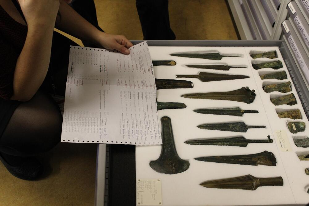 The Arreton hoard from the Isle of Wight includes flanged axes and spearheads (socketed and tanged types).