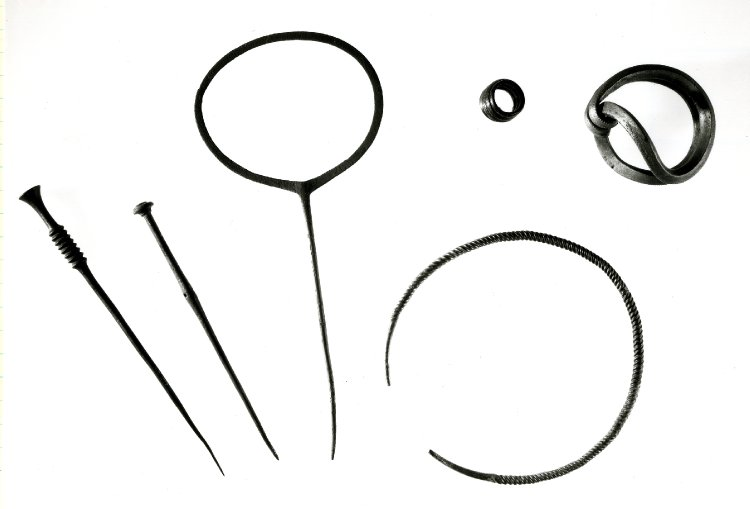 Middle Bronze Age ornaments from East Dean, Peadown hoard, Sussex. The middle pin is 30cm long. The object on the top right is a Sussex Loop bracelet. © Trustees of the British Museum