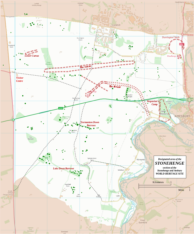 """""""Stonehenge World Heritage Site map 2"""" by RobinLeicester building on OS OpenData VextorMap District Raster files - OS Open Data with additional material cited at World Heritage Site list No 373. Via Wikimedia Commons - http://commons.wikimedia.org/wiki/File:Stonehenge_World_Heritage_Site_map_2.svg#mediaviewer/File:Stonehenge_World_Heritage_Site_map_2.svg"""