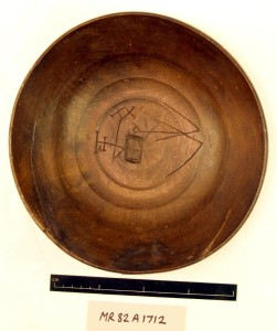 Wooden bowl Beech with personal markings (82A1712) - © Mary Rose Trust